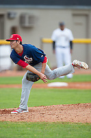 Johnson City Cardinals relief pitcher Harley Holt (34) follows through on his delivery against the Bristol Pirates at Boyce Cox Field on July 7, 2015 in Bristol, Virginia.  The Cardinals defeated the Pirates 4-1 in game one of a double-header. (Brian Westerholt/Four Seam Images)