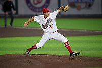 Auburn Doubledays pitcher Bobby Milacki (27) during a NY-Penn League game against the Connecticut Tigers on July 12, 2019 at Falcon Park in Auburn, New York.  Auburn defeated Connecticut 7-5.  (Mike Janes/Four Seam Images)