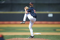 Virginia Cavaliers relief pitcher Griff McGarry (25) in action against the Wake Forest Demon Deacons at David F. Couch Ballpark on May 19, 2018 in  Winston-Salem, North Carolina. The Demon Deacons defeated the Cavaliers 18-12. (Brian Westerholt/Four Seam Images)