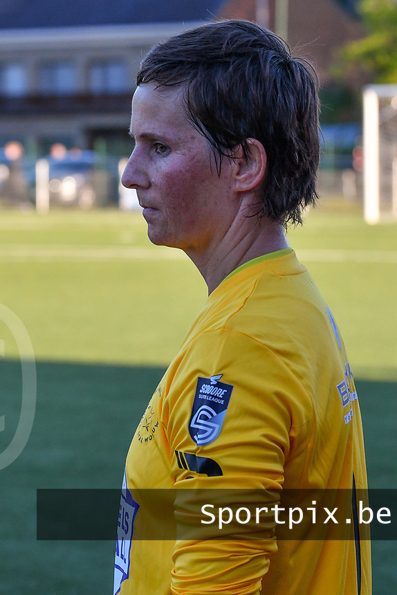 Willeke Willems (1) of Woluwe walking onto the pitch before a female soccer game between  Racing Genk Ladies and White Star Woluwe on the 8 th matchday of play off 2 in the 2020 - 2021 season of Belgian Scooore Womens Super League , tuesday 18 th of May 2021  in Genk , Belgium . PHOTO SPORTPIX.BE | SPP | JILL DELSAUX