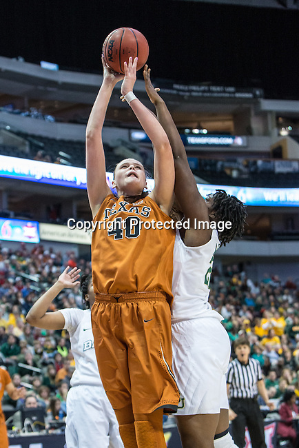 center Kelsey Lang (40) in action during Big 12 women's basketball championship final, Sunday, March 08, 2015 in Dallas, Tex. (Dan Wozniak/TFV Media via AP Images)