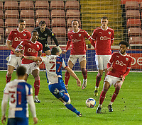 17th February 2021, Oakwell Stadium, Barnsley, Yorkshire, England; English Football League Championship Football, Barnsley FC versus Blackburn Rovers; Lewis Travis of Blackburn Rovers with a speculative effort with a wall of 5 Barnsley players defending