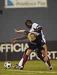 DALLAS, TX -SEPTEMBER 14: Bobby Rhine #19 of the Dallas Burn in action against New England Revolution at Cotton Bowl in Dallas on September 14, 2002 in Dallas, Texas. (Photo by Rick Yeatts) Rhine's career consisted of 212 games making 136 starts, played more than 12,000 minutes scoring 23 goals and 34 recorded assists.