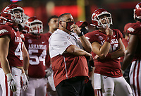 Arkansas head coach Sam Pittman looks on as officials decide on the results of a play, Saturday, November 7, 2020 during the third quarter of a football game at Donald W. Reynolds Razorback Stadium in Fayetteville. Check out nwaonline.com/201108Daily/ for today's photo gallery. <br /> (NWA Democrat-Gazette/Charlie Kaijo)