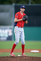 Williamsport Crosscutters pitcher Kyle Young (44) during a game against the Batavia Muckdogs on August 19, 2017 at Dwyer Stadium in Batavia, New York.  Batavia defeated Williamsport 11-1 in five innings due to rain.  (Mike Janes/Four Seam Images)