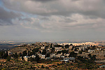 Judea, Beth El Mountains. Palestinian village Beit Ur el Foka, the site of biblical Upper Beth Horon as seen from settlement Beth Horon