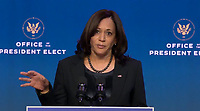 """United States Vice President-elect Kamala Harris makes remarks following US President-elect Joe Biden delivering remarks naming """"Key Nominees for the Department of Justice"""" from the Queen Theatre in Wilmington, Delaware on Thursday, January 7, 2021.  <br /> CAP/MPI/RS<br /> ©RS/MPI/Capital Pictures"""