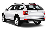 Car pictures of rear three quarter view of a 2017 Skoda Octavia Combi Scout 5 Door Wagon angular rear