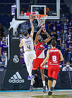 13th October 2021; Wizink Center; Madrid, Spain; Turkish Airlines Euroleague Basketball; game 3; Real Madrid versus AS Monaco; Thomas Heurtel (Real Madrid Baloncesto) lays up for 2 points