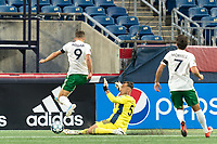 FOXBOROUGH, MA - AUGUST 26: Joe Rice #51 of New England Revolution II slides to make a save during a game between Greenville Triumph SC and New England Revolution II at Gillette Stadium on August 26, 2020 in Foxborough, Massachusetts.