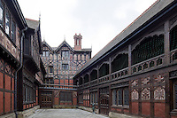 The galleried courtyard, one of the many Victorian editions to Madresfield designed to resemble an Elizabethan manor