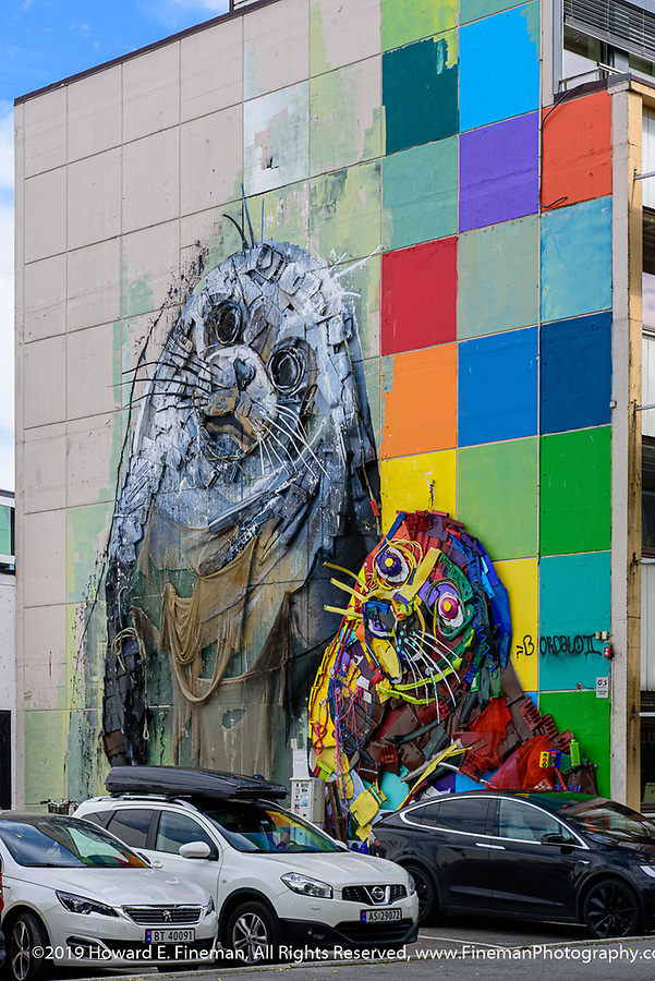 Colorful mural on side of Kristiansand building