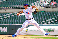 Iowa Cubs pitcher James Norwood (38) delivers a pitch during a Pacific Coast League game against the San Antonio Missions on May 2, 2019 at Principal Park in Des Moines, Iowa. Iowa defeated San Antonio 8-6. (Brad Krause/Four Seam Images)