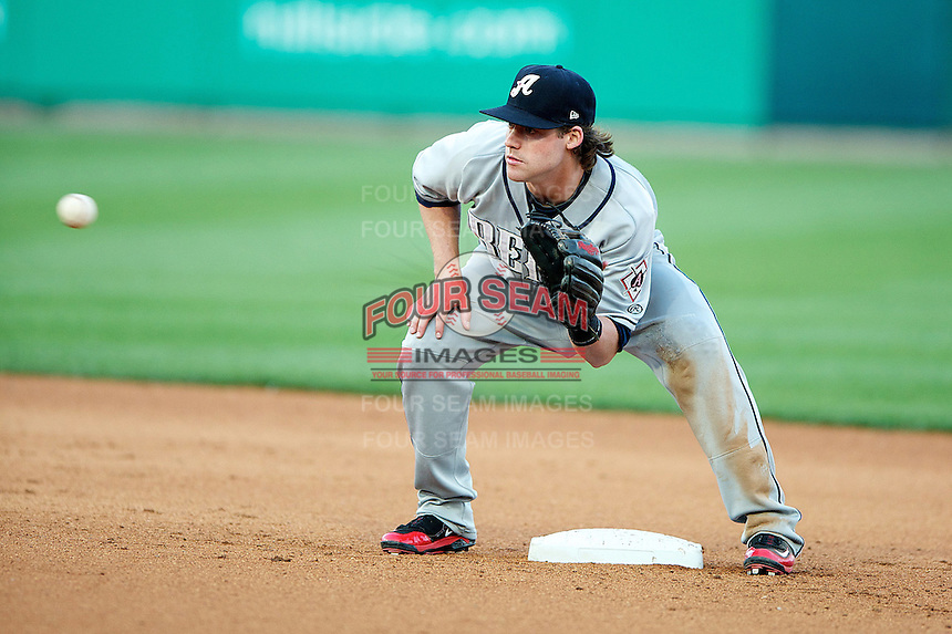 Reno Aces infielder Jake Elmore #10 during the Triple-A All-Star game featuring the Pacific Coast League and International League top players at Coca-Cola Field on July 11, 2012 in Buffalo, New York.  PCL defeated the IL 3-0.  (Mike Janes/Four Seam Images)