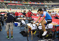 06 DEC 2014 - STRATFORD, LONDON, GBR - Joseph Veloce (CAN) from Canada warms up at the 2014 UCI Track Cycling World Cup  at the Lee Valley Velo Park in Stratford, London, Great Britain (PHOTO COPYRIGHT © 2014 NIGEL FARROW, ALL RIGHTS RESERVED)