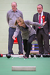 © Joel Goodman - 07973 332324 . 27/01/2014 . Manchester , UK . The Deputy Leader of the Labour Party , Harriet Harman and Mike Kane (r) bowling in the gym at the launch of Mike Kane's campaign for the Wythenshawe East and Sale by-election at the Woodhouse Park Lifestyle Centre in Wythenshawe , today (27th January 2014) . Photo credit : Joel Goodman