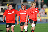 20131103 Copyright onEdition 2013©<br /> Free for editorial use image, please credit: onEdition<br /> <br /> (L-R) Matt Stevens, Richard Barrington and Mouritz Botha of Saracens warm up before the Premiership Rugby match between Saracens and Newcastle Falcons at Allianz Park on Sunday 3rd November 2013 (Photo by Rob Munro)<br /> <br /> For press contacts contact: Sam Feasey at brandRapport on M: +44 (0)7717 757114 E: SFeasey@brand-rapport.com<br /> <br /> If you require a higher resolution image or you have any other onEdition photographic enquiries, please contact onEdition on 0845 900 2 900 or email info@onEdition.com<br /> This image is copyright onEdition 2013©.<br /> This image has been supplied by onEdition and must be credited onEdition. The author is asserting his full Moral rights in relation to the publication of this image. Rights for onward transmission of any image or file is not granted or implied. Changing or deleting Copyright information is illegal as specified in the Copyright, Design and Patents Act 1988. If you are in any way unsure of your right to publish this image please contact onEdition on 0845 900 2 900 or email info@onEdition.com