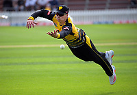 Michael Bracewell dives for the ball during the men's Dream11 Super Smash cricket match between the Wellington Firebirds and Northern Knights at Basin Reserve in Wellington, New Zealand on Saturday, 9 January 2021. Photo: Dave Lintott / lintottphoto.co.nz