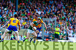 Gavin White Kerry in action against Cathal O'Connor Clare during the Munster GAA Football Senior Championship semi-final match between Kerry and Clare at Fitzgerald Stadium in Killarney on Sunday.