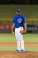 AZL Cubs 1 relief pitcher Fauris Guerrero (41) looks in for the sign during an Arizona League playoff game against the AZL Rangers at Sloan Park on August 29, 2018 in Mesa, Arizona. The AZL Cubs 1 defeated the AZL Rangers 8-7. (Zachary Lucy/Four Seam Images)