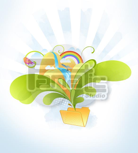 Illustrative image of nature and folder representing file sharing