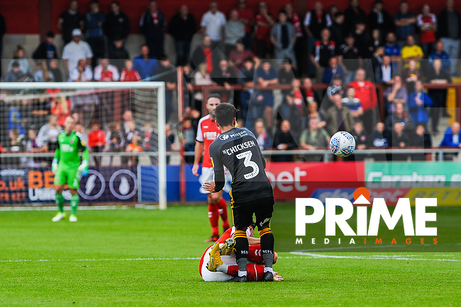 Fleetwood Town's forward Wes Burns (7) clatters into Bradford City's defender Adam Chicksen (3) during the Sky Bet League 1 match between Fleetwood Town and Bradford City at Highbury Stadium, Fleetwood, England on 1 September 2018. Photo by Stephen Buckley / PRiME Media Images.