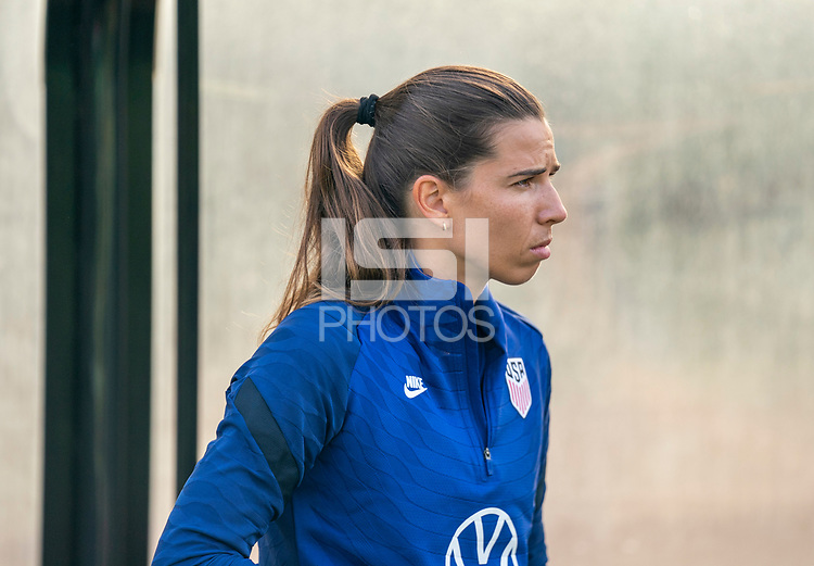 CLEVELAND, OH - SEPTEMBER 14: Tobin Heath of the United States warms up during a training session at the training fields on September 14, 2021 in Cleveland, Ohio.