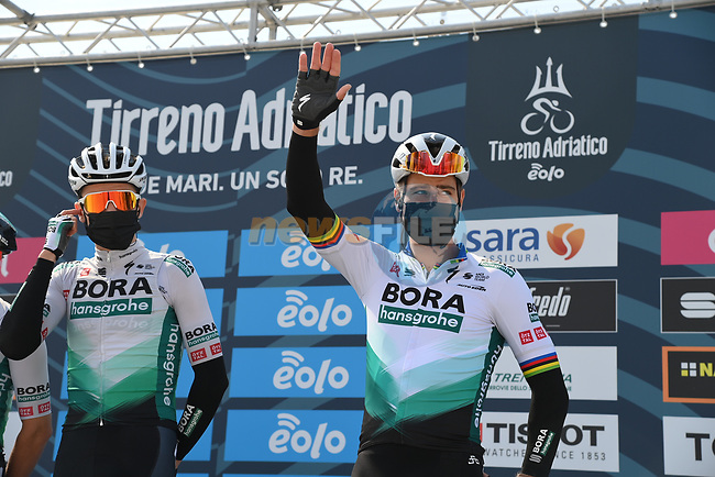 Peter Sagan (SVK) Bora-Hansgrohe at sign on before the start of Stage 1 of Tirreno-Adriatico Eolo 2021, running 156km from Lido di Camaiore to Lido di Camaiore, Italy. 10th March 2021. <br /> Photo: LaPresse/Gian Mattia D'Alberto | Cyclefile<br /> <br /> All photos usage must carry mandatory copyright credit (© Cyclefile | LaPresse/Gian Mattia D'Alberto)