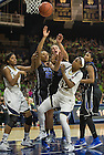 Feb. 21, 2014; Guard Jewell Loyd battles for the rebound against Duke during the second half. Notre Dame won 81 to 70. Photo by Barbara Johnston/University of Notre Dame