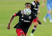WASHINGTON, DC - SEPTEMBER 06: Donovan Pines #23 of D.C. United sprints to the ball during a game between New York City FC and D.C. United at Audi Field on September 06, 2020 in Washington, DC.