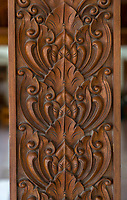 Yogyakarta, Java, Indonesia.  Lotus Flower Design Carved on a Pillar Supporting Roof of a Restaurant.