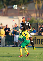 SANTA CLARA, CA - Saturday July 20, 2013:  San Jose Earthquakes defender Jordan Stewart (22) during the San Jose Earthquakes vs Norwich City F.C. Canaries match in Buck Shaw Stadium in Santa Clara, CA. Final score SJ Earthquakes 1, Norwich City F.C. Canaries 0.