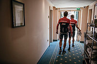 Jasper Stuyven (BEL/Trek-Segafredo) & Mads Pedersen (DEN/Trek-Segafredo) leaving the hotel for a training ride with Team Trek-Segafredo on the 3rd restday<br /> <br /> 100th Giro d'Italia 2017
