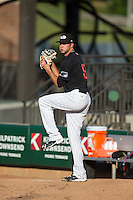 Winston-Salem Dash starting pitcher Spencer Adams (12) warms up in the bullpen prior to the game against the Salem Red Sox at BB&T Ballpark on June 16, 2016 in Winston-Salem, North Carolina.  The Dash defeated the Red Sox 7-1.  (Brian Westerholt/Four Seam Images)