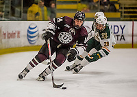 18 December 2016: Union College Dutchman Defenseman J.C. Brassard, a Junior from Scituate, MA, in second period action against the University of Vermont Catamounts at Gutterson Fieldhouse in Burlington, Vermont. The Dutchmen defeated their former ECAC hockey rivals 2-1, sweeping their two-game weekend series. Mandatory Credit: Ed Wolfstein Photo *** RAW (NEF) Image File Available ***