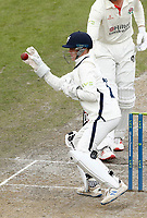 28th May 2021; Emirates Old Trafford, Manchester, Lancashire, England; County Championship Cricket, Lancashire versus Yorkshire, Day 2; Yorkshire keeper Harry Duke fields the throw to wicket