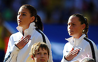 Hope Solo (l) and Christie Rampone of team USA during the FIFA Women's World Cup at the FIFA Stadium in Dresden, Germany on June 28th, 2011.