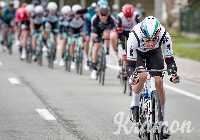 European Champion Giacomo Nizzolo (ITA/Qhubeka ASSOS) in the first bunch<br /> <br /> 83rd Gent-Wevelgem - in Flanders Fields (ME - 1.UWT)<br /> 1 day race from Ieper to Wevelgem (BEL): 254km<br /> <br /> ©kramon
