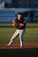 Jay Baum (17) of the Bakersfield Blaze during a game against the Lancaster JetHawks at The Hanger on April 28, 2016 in Lancaster, California. Lancaster defeated Bakersfield, 5-4. (Larry Goren/Four Seam Images)