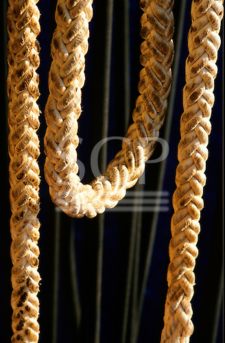 Rio de Janeiro, Brazil. Oil rig; abstract image of rope hawser.