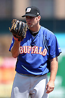 Buffalo Bisons starting pitcher Mark Cohoon #32 during a game against the Rochester Red Wings at Frontier Field on August 2, 2011 in Rochester, New York.  Rochester defeated Buffalo 7-3.  (Mike Janes/Four Seam Images)