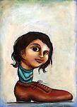 Illustrative image of girl in shoe representing desire