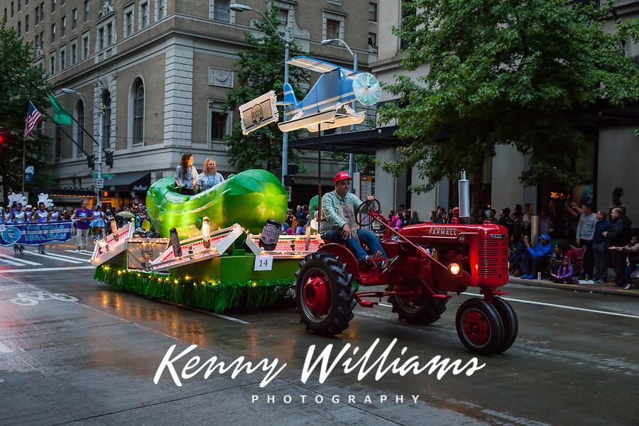 Seattle Pickle Company Float, Seafair Torchlight Parade 2015, Seattle, Washington State, WA, America, USA.