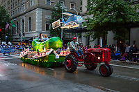 Seattle Pickle Company Float, Seafair Torchlight Parade 2015, Seattle, Washington State, WA, America, USA.