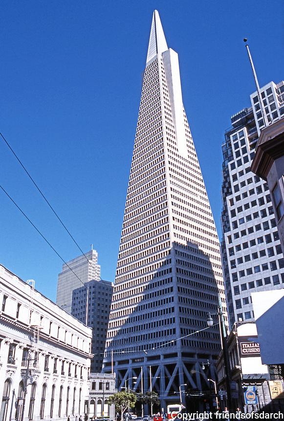 San Francisco: Transamerica Pyramid, 600 Montgomery, 1972. William Pereira, Architect. Photo '89.