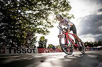 Michel Hessmann (DEU) off the start ramp<br /> at the Men Junior Individual Time Trial<br /> <br /> 2019 Road World Championships Yorkshire (GBR)<br /> <br /> ©kramon