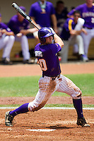 LSU Tigers designated hitter Jordy Snikeris #20 swings during the NCAA Super Regional baseball game against Stony Brook on June 9, 2012 at Alex Box Stadium in Baton Rouge, Louisiana. Stony Brook defeated LSU 3-1. (Andrew Woolley/Four Seam Images)