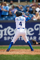 Wilmington Blue Rocks third baseman Jecksson Flores (4) at bat during the first game of a doubleheader against the Frederick Keys on May 14, 2017 at Daniel S. Frawley Stadium in Wilmington, Delaware.  Wilmington defeated Frederick 10-2.  (Mike Janes/Four Seam Images)