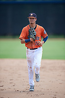 GCL Astros left fielder Carlos Diaz (12) jogs back to the dugout during a game against the GCL Marlins on August 5, 2018 at FITTEAM Ballpark of the Palm Beaches in West Palm Beach, Florida.  GCL Astros defeated GCL Marlins 2-1.  (Mike Janes/Four Seam Images)