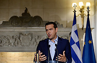 Pictured: Greek Prime Minister Alexis Tsipras at Maximos Mansion in Athens, Greece. Thurday 07 September 2017<br />Re: French President Emmanuel Macron state visit to Athens, Greece.